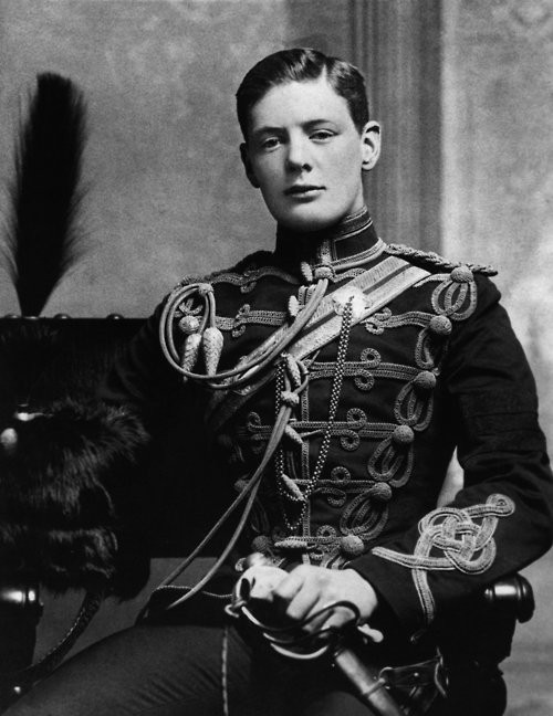 ornamentedbeing:  Winston Leonard Spencer Churchill at 19, in the uniform of the Fourth Queen's Own Hussars. Winston Leonard Spencer Churchill