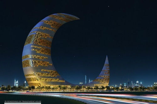 a2n5:  Skyscaper crescent moon tower, Dubai
