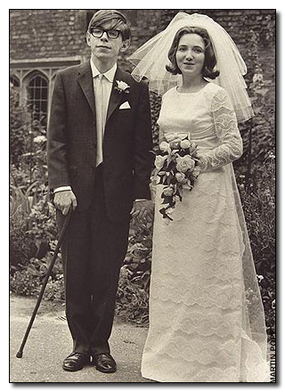 cracked:  This photo is from 1965, when a 23-year-old Stephen Hawking married Jane Wilde. That was after his diagnosis with ALS, the disease that would put him in the wheelchair (note the cane). But just a couple of years before that, he had no idea he had a degenerative disease — he was a healthy, active, drinking college student at Oxford:   Then, one day he noticed he was having trouble keeping his hands steady, and once fell down a flight of stairs. Hey, best to go get it checked out, right? Could be, like, an ear infection or something throwing off his balance. That's when the 21-year-old (now studying for his Ph.D. at Cambridge) was told he'd be bedridden soon, and dead within a few years, a prognosis that is true for almost every ALS patient. Hawking, somehow, is still alive 50 years after his diagnosis.  Read more: 14 Photographs That Shatter Your Image of Famous People