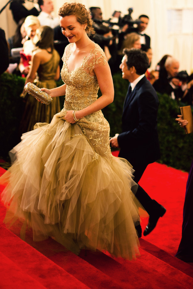 fromme-toyou:  Oh what a night… Leighton Meester in Marchesa arriving at the Met Gala