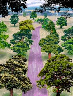 hockney, summer road near kilham