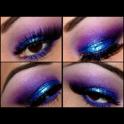queenofblending:  #Sugarpill Poison plum & Bulletproof, #MAC Reflects Turquoise glitter, Urban Decay ABC gum for the highlight and Lust 24/7 pencil. Lashes are Sugarpill Daydreamer lashes 💜💙💜 #makeup #nofilter #nophotoshop #beauty #eyeshadow #lashes #eyes #eyeliner #purple #glitter (Taken with instagram)