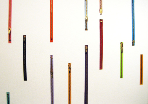 mcasd:  ART AUCTION 2012 Thomas Glassford, Untitled: Multicolor Zip-drip, 2008, zippers and paper, 15 x 21 inches, Courtesy of the artist and Quint Contemporary Art
