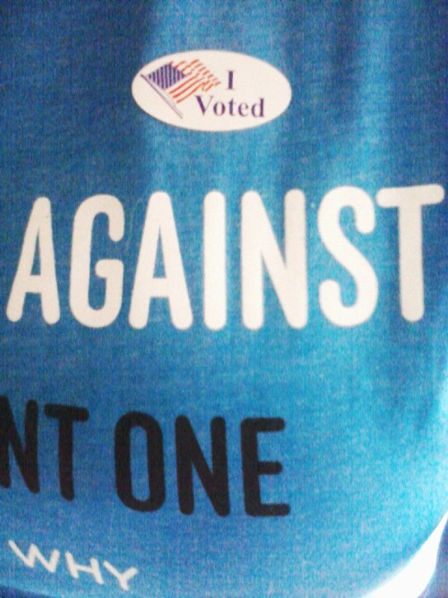 I voted for the first time ever today, and for a good cause!Not to mention I perfectly placed the sticker to photograph like that on my shirt. (Here's the actual shirt)My friends and I hosted a rather peaceful yet affective protest, and now, we wait.Let's hope for the best!   Follower Submission.