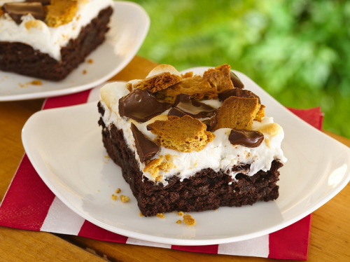 S'mores Brownies Recipe by Betty Crocker Recipes on Flickr.Via Flickr: INGREDIENTS: 1 box (1 lb 2.4 oz) Betty Crocker® Original Supreme Premium brownie mix Water, vegetable oil and egg called for on brownie mix box 2 cups miniature marshmallows 4 graham crackers, broken into small pieces 2 milk chocolate candy bars (1.55 oz each), broken into 1-inch squares INGREDIENTS: 1. Heat oven to 350°F (325°F for dark or nonstick pan). Make brownies as directed. After removing pan from oven, set oven to broil. 2. Immediately sprinkle marshmallows and graham crackers over warm brownies. Broil about 4 to 5 inches from heat 30 to 60 seconds or until marshmallows are golden brown. (Watch carefully marshmallows and graham crackers will brown quickly.)  Sprinkle with chocolate candy. To serve warm, cool about 30 minutes. For brownies, cut into 4 rows by 4 rows.