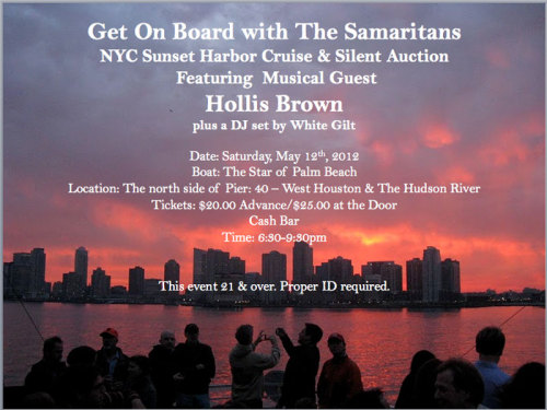 For only $20, you'll be supporting Samaritans NYC (they run a 24-hour suicide prevention hotline) and you'll get to see one of my favorite bands, Hollis Brown, play. You can purchase tickets here.