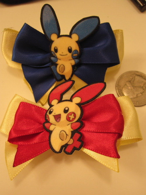 Plusle and Minun Hair Bow set (My Etsy link)