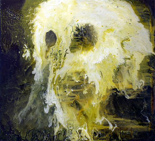 devidsketchbook:  Untitled (Green Skull) by DAN BEARD 2009 130 x 120cm Oil and lacquer on wood