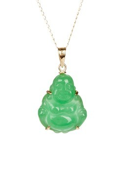 14K Yellow Gold Jade Buddha Pendant Necklace