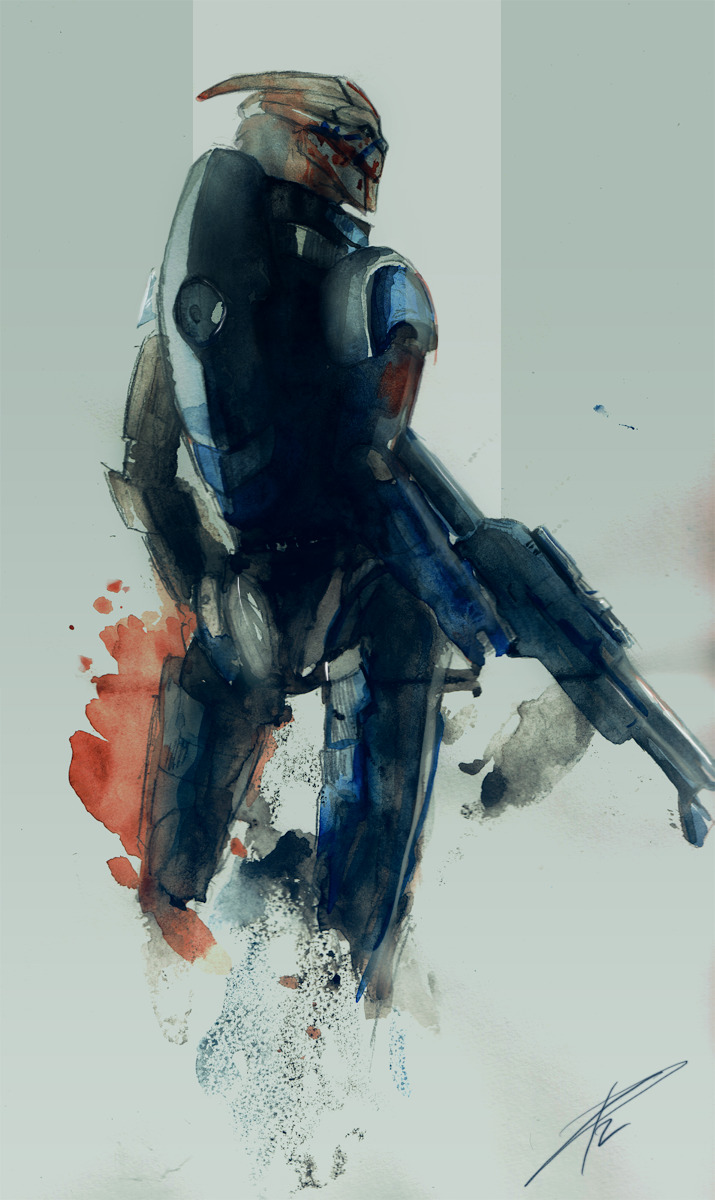 liarcowardsnake:  Yep. I did it, finally. Garrus, watercolors.