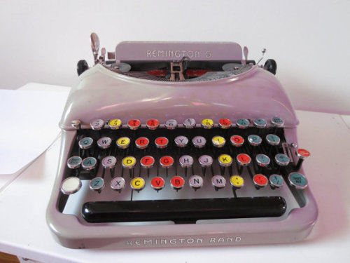 This typewriter. I am in love with this thing. Look at the keys! Made in 1937, this portable Remington Ram typewriter is great for any collector and also for anyone looking for a unique treasure! http://www.etsy.com/listing/88858914/typewriter-portable-remington-rand