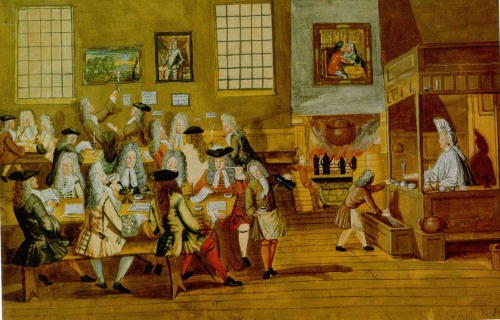 Anonymous Interior of a London Coffee House, 1668 The social institution of the coffee house, modeled on Arab practices, began to appear in Europe in the 17th century, and mostly in large cities. These establishments were rather small— they reeked of tobacco smoke and were mostly populated by men.  In the middle of the seventeenth century, chocolate, coffee, and tea all gained widespread, and quite sudden, popularity throughout Europe. The timing of this introduction has more to do with patterns of European consumption than it does with the various ways these crops were encountered by Europeans through colonial expansion. The import of caffeinated goods into Europe such as tea, chocolate, and coffee had profound effects on European bourgeois consumption and and what, indeed, it meant to be bourgeois. The idea of fashion as a means of social discrimination created a market for luxury and exotic goods, and caffeinated drinks were essential to the visible demonstration of possessing the exotic and foreign. Coffee houses started to appear by the thousands in the 18th century and became the focus of the emerging bourgeois class of urban professionals where politics could be discussed and business deals were made. Men of all social classes were welcomed in the coffee house, as coffee was seen as a drink that promoted sobriety and virtue. Women were not allowed to join in on the fun, even though they were not barred from working at these establishments. Coffee houses were places in which news was shared between certain merchant and professional classes, and some coffee houses became associated with certain professions. London coffee houses, for example, became the birthplaces of such institutions such as Lloyd's Insurance and the London Stock Exchange.