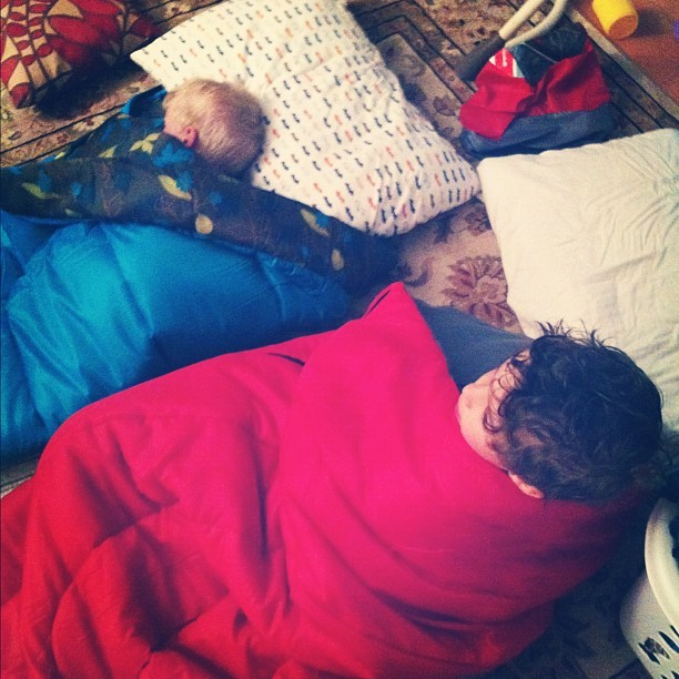 First time in sleeping bags. #canadian #doingitright (Taken with instagram)