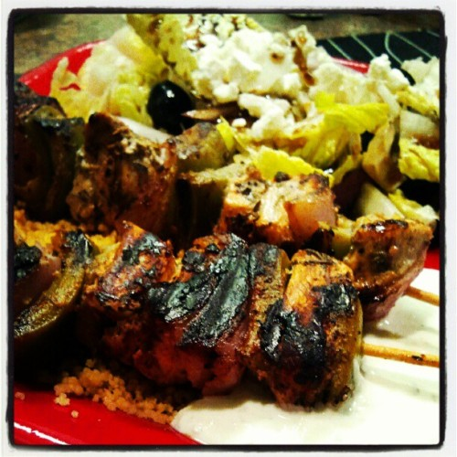 Greek chicken kabobs and homemade tzakiki sauce with a salad. (Taken with instagram)