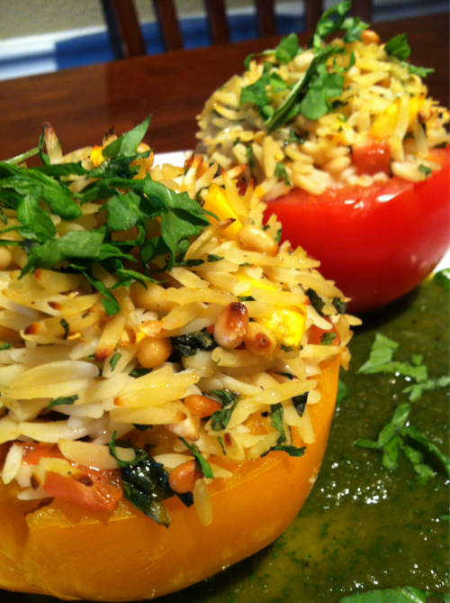 Orzo stuffed tomatoes