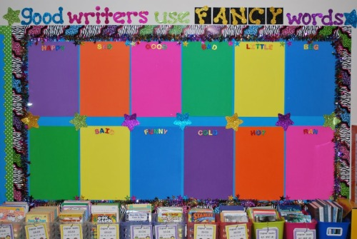 Use clipboards on the bulletin board to hang up student work. Simply change the title with each assignment and hang the work on the boards rather than switching the bulletin board each period. Or use the same title (such as writing in this one) to display writing work from the whole year.