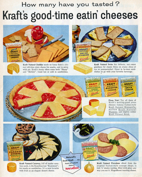 chrismohney:  murrayscheese:  goshyesvintageads:  Kraft, 1958  How many have you tasted?  Now that we've solved homophobia let's please turn our attention back to what's really important ok