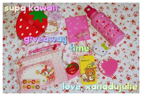 xanadujulie:  xanadujulie:  ♡♡♡ Supa Kawaii Giveaway from XanaduJulie ♡♡♡GRANDPRIZE:♡ Three Part Strawberry Lunch box (2 compartments w/ 1 plate)♡ Drawstring strawberry cloth bag♡ Cute deer stationary & stickers♡ Pink kawaii mechanical pencil♡ Rosette covered compact mirror♡ Sweet Heart pink water bottle♡ 1 lilac Hello Kitty hearts phone case for iPhone 4/4s♡ 1 yellow Rilakkuma w/ friends and flowers phone case for iPhone 4/4s♡ Strawberry phone charm with slide out mirror♡ Red headphone bow plug♡ Pink rosette earbuds ♡ Hello Kitty collectors metal tin w/ sour apple candies♡ Pink heart box w/ pink whippie & swarovski crystals by XanaduJulieRULES:♡ only REBLOGS count for valid entry (may 'like' to bookmark)♡ Reblog as many times as you like, but NO 'giveaway' tumblrs allowed!♡ Must be following XanaduJulie on tumblr♡ Keep ask box open, winner will have 48 hours to claim prize before it is passed onto another lucky entry!♡This giveaway will start May 8th, 2012 & end June 18th, 2012♡Thanks for entering ♡ Good luck!any questions? don't hesitate to ask!Don't forget to check out more XanaduJulieDeco on Facebook & order yours today on etsy ♡♡♡  24 HOURS LEFT TO ENTER, GET IN ON IT BEFORE IT'S TOO LATE!!!