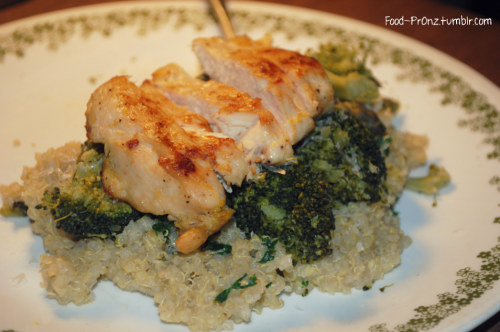 food-pr0nz:  Grilled Lemon Chicken over Buttery Parmesan Quinoa and Steamed Broccoli and Asparagus  Grilled Lemon Chicken… 3 boneless, skinless chicken breasts, butterflied in half to make six thin breasts zest of one lemon 1 T extra virgin olive oil kosher salt and fresh cracked black pepper, to season Directions: Heat your indoor grill pan over moderate heat and drizzle with olive oil. Season your chicken breasts with salt and pepper, and rub the lemon zest onto both sides of each breast Grill until cooked through. Buttery Parmesan Quinoa… 1 1/2 C Quinoa  3 C chicken broth  2 T butter, separated 1 oz, shredded Parmesan cheese  1 T finely chopped parsley  kosher salt and fresh cracked black pepper, to season Heat a small saucepan over moderate heat and add 1 tablespoon of butter to the hot pan. Once melted add the quinoa, and stir constantly until it begins to smell nutty. Pour in chicken broth, bring to a boil, lower heat to a simmer, cover and let simmer for 15 minutes, or until quinoa is tender and there is no broth in the pan. Stir in remaining butter, cheese, parsley, and season with salt and pepper. Broccoli and Asparagus… 1 C purple asparagus, cut into bite-sized pieces   1 C green asparagus, cut into bite-sized pieces 2 C broccoli, cut into bite-sized pieces   Season with salt and steam in a steamer basket or your microwave, until tender. To plate, place quinoa on plate and top with veggies and chicken.  (Makes 6 servings.)