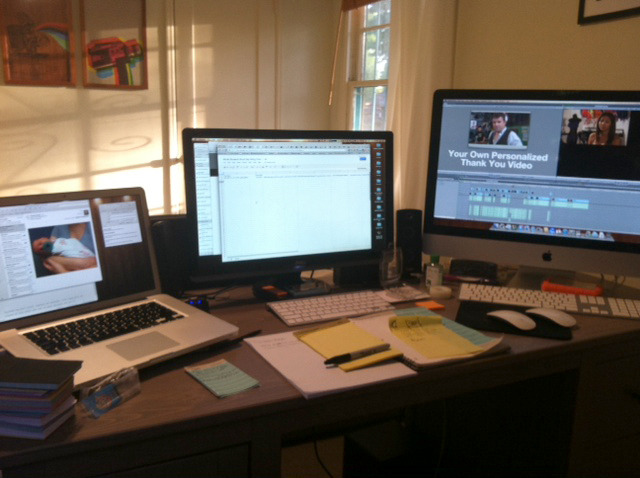 "My awesome ""working at home for a week 'cause we just had a baby"" setup."