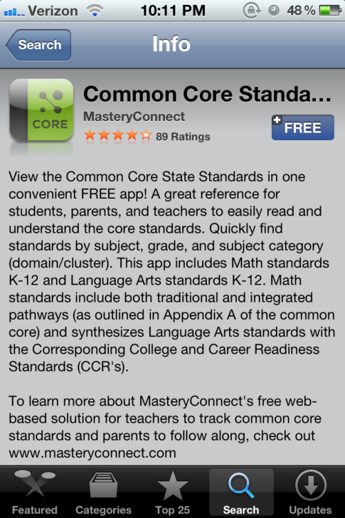A free app on the Common Core Standards! I'm so excited! My nerd is showing! (Discovered via @EduMajorProblem)