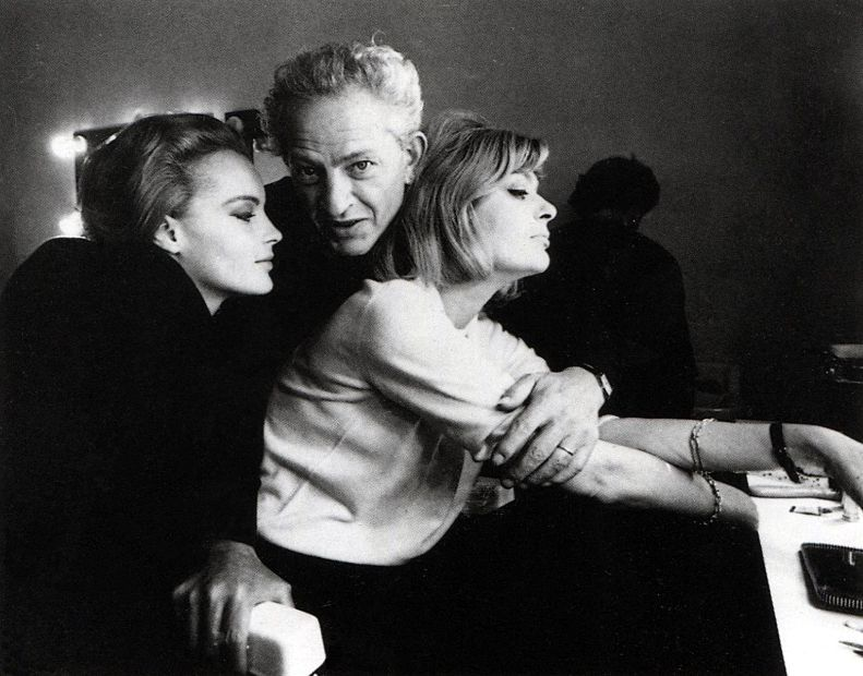 "sunsetgun:  Jules Dassin with Romy Schneider and Melina Mercouri. ""10:30 P.M. Summer."" Jules Dassin was one of cinema's most inventive, raw, soulful, intelligent auteurs. With movies like Thieves' Highway, Brute Force, The Naked City and my favorite, Night and the City (featuring Richard Widmark's greatest, most desperate, most quintessential noir performance) and the brilliant Rififi and Topkapi, as well as Never on Sunday, a popular picture that served as a valentine to his talented wife, actress Melina Mercouri, he was a force. He also directed 10:30 P.M. Summer, again featuring wife Mercouri with the added wow factor of Romy Schneider. Very good.  Dassin was a seminal figure who deserves the respect of a Hawkes, a Ford, a Hitchcock or a Kazan. And speaking of Kazan…Dassin suffered the vile witch-hunt of HUAC, and was blacklisted from Hollywood after director Edward Dmytryk named him as a communist. Dassin would fashion his aforementioned greatest work — Night and the City, in London, and later the influential Rififi, made in France. He died in 2008, but his work lives on."