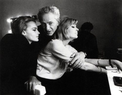 "Jules Dassin with Romy Schneider and Melina Mercouri. ""10:30 P.M. Summer."" Jules Dassin was one of cinema's most inventive, raw, soulful, intelligent auteurs. With movies like Thieves' Highway, Brute Force, The Naked City and my favorite, Night and the City (featuring Richard Widmark's greatest, most desperate, most quintessential noir performance) and the brilliant Rififi and Topkapi, as well as Never on Sunday, a popular picture that served as a valentine to his talented wife, actress Melina Mercouri, he was a force. He also directed 10:30 P.M. Summer, again featuring wife Mercouri with the added wow factor of Romy Schneider. Very good.  Dassin was a seminal figure who deserves the respect of a Hawkes, a Ford, a Hitchcock or a Kazan. And speaking of Kazan…Dassin suffered the vile witch-hunt of HUAC, and was blacklisted from Hollywood after director Edward Dmytryk named him as a communist. Dassin would fashion his aforementioned greatest work — Night and the City, in London, and later the influential Rififi, made in France. He died in 2008, but his work lives on."