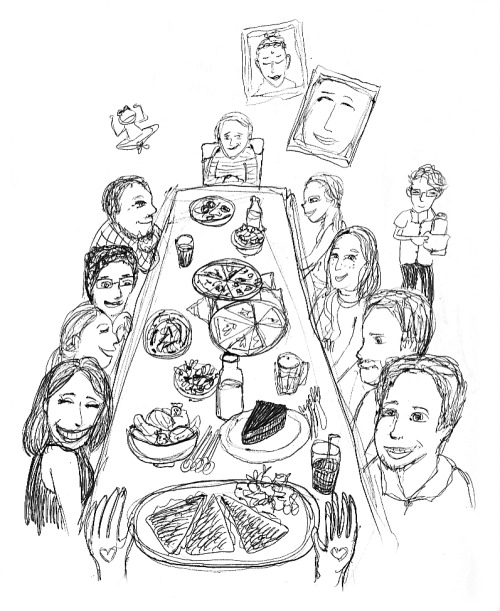 Doodle of my birthday dinner at Prana Cafe in Newton, complete with great vegan fare, greater friends, and our fun little hipster vegan waiter
