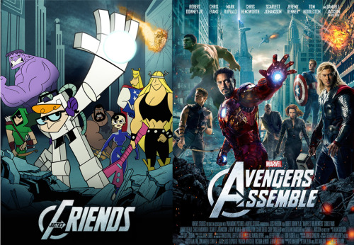 Justice Friends Avengers Poster vs. Marvel's Avengers poster JF poster by Steven Ray Brown (See also: Dexter's Lab vs. Big Bang Theory) (via:cannotunsee)