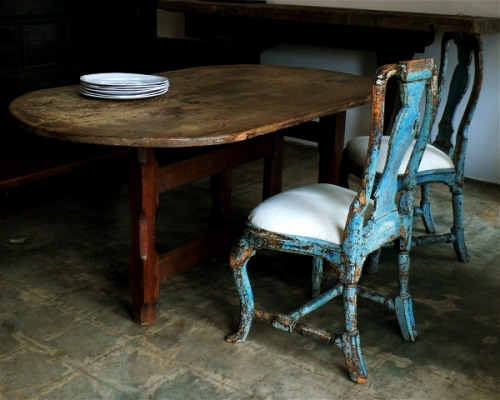 c. 1750 chairs pull up to one of Trove's many antique tables… @trouvais.com