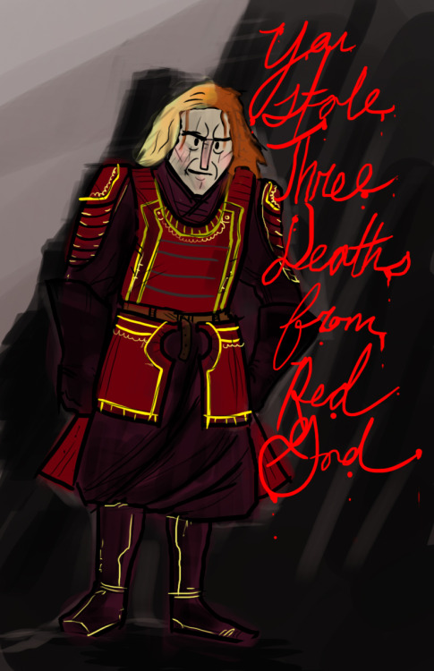 "You must give them back. Jaqen H'Ghar quickly sketched in Photoshop because I couldn't get the line ""A girl cannot tell a man when exactly he must do a thing"" out of my head all day."