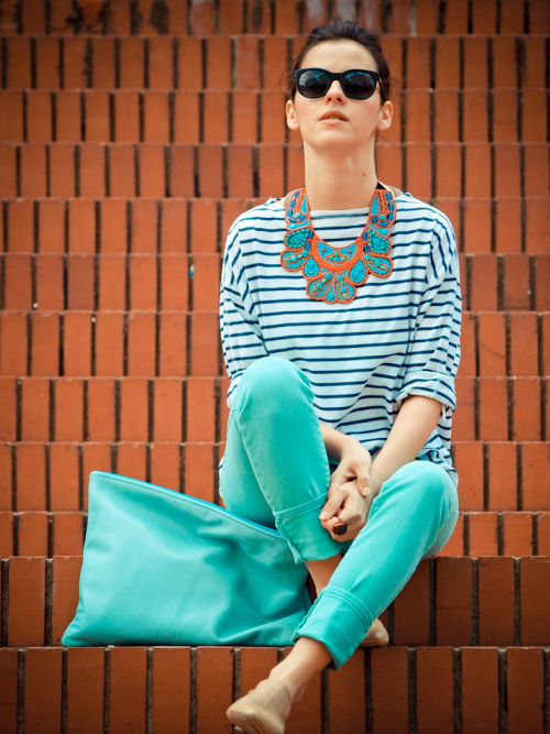 instylewithstylebabe:  Turquoise Sassy ~ I'm Loving The Necklace!