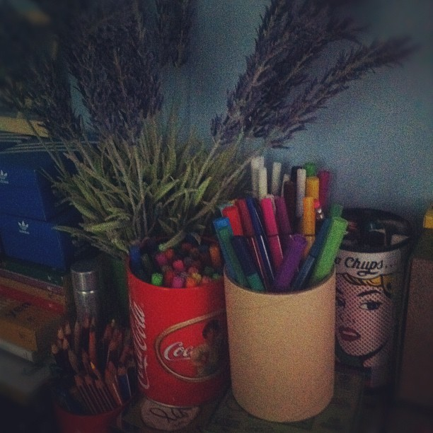 #colour #pens #stationery #myroom #lavender #chupachups #cocacola #can (Taken with instagram)