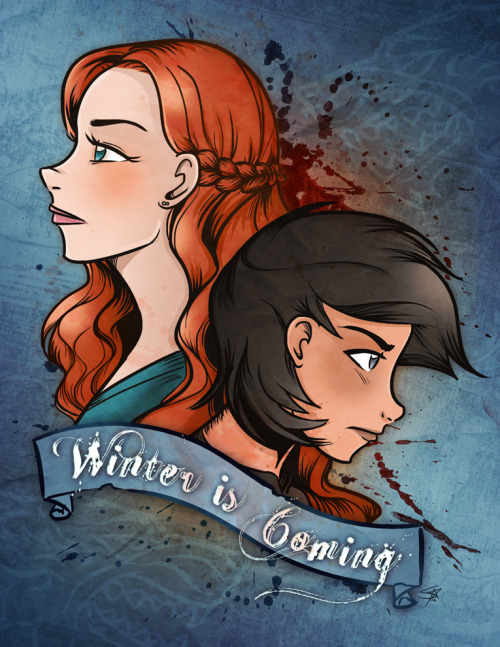 starline:  starline:  The Stark Sisters - Game of Thrones  Finished! I think I might make a 8.5x11 print out of this. Anyone interested?  Reblogging myself to say that prints are now available!