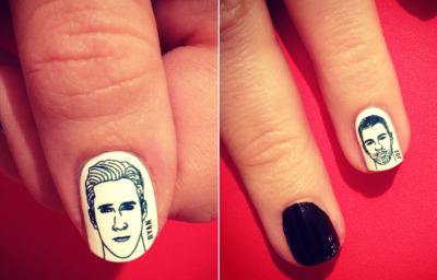 I'm usually anti nail stickers (for myself) but Ryan Gosling nails are definitely something that has been missing in my life. radnails:  (via Ryan Gosling Rad Nails Wraps? Oh Yeahhh! | Rad Nails)