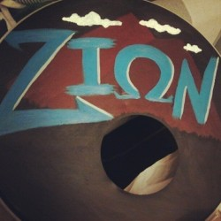 Not my best but I painted this for my dad's band. #zion #bassdrumcover #zionband #painting (Taken with instagram)