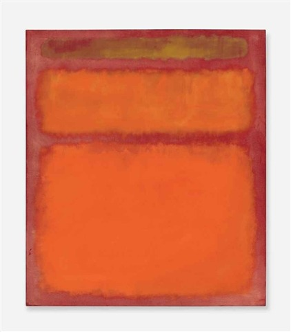 Christie's Post-War and Contemporary Art Evening Sale: NY, May 8, 2012. LOT 20Mark Rothko (1903-1970) Orange, Red, Yellow signed and dated 'MARK ROTHKO 1961' (on the reverse); signed again and with initials 'M. Rothko M.B.' (on the stretcher)oil on canvas 93 x 81¼ in. (236.2 x 206.4 cm.) Painted in 1961.Estimate: $35,000,000 - $45,000,000Price Realized: $86,882,500