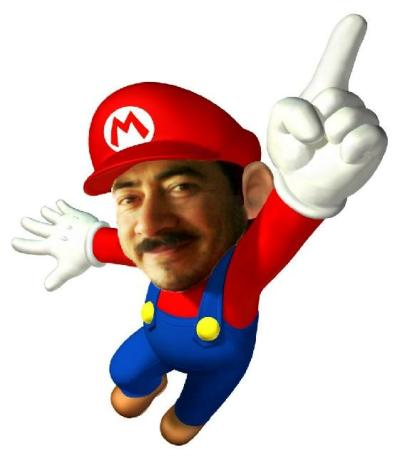 this is a photoshop i made, he is my boss who totally looks like mario bros