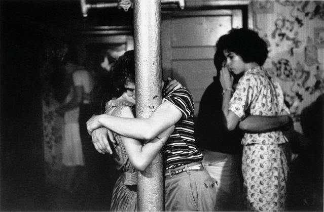 gjtheexquisite:  Kissing at a basement dance party, 1959