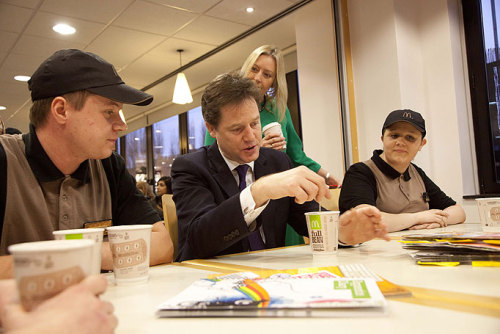 Nick Clegg is sad about the quality of the places Dave takes him for dinner