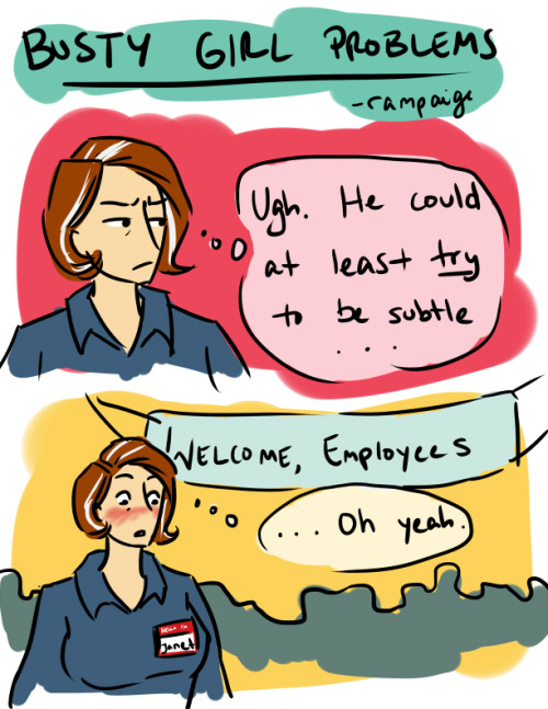 "bustygirlcomics:  What's in a nametag.  This is why I'm very careful about my badge placement every morning…have given too many people the ""WTF"" look for the wrong reason."