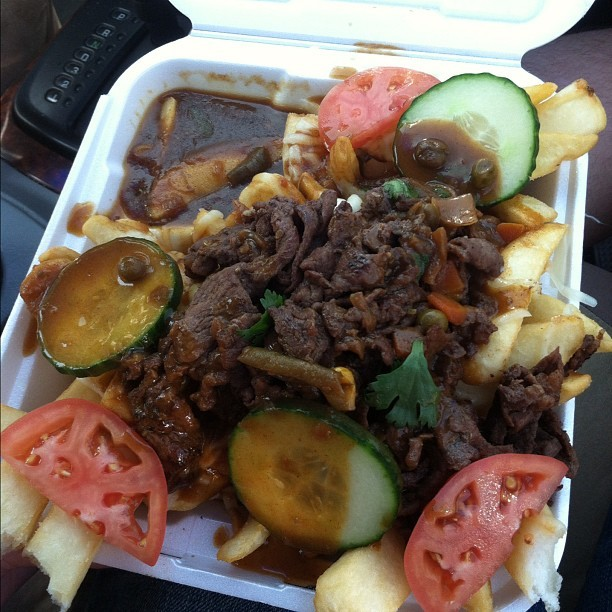 What I ate while at #LACMA. It was from this random #Korean #foodtruck. 😍 #curry #fries #kogi #tomatoes #foodporn #instagram #yummy #yum (Taken with instagram)