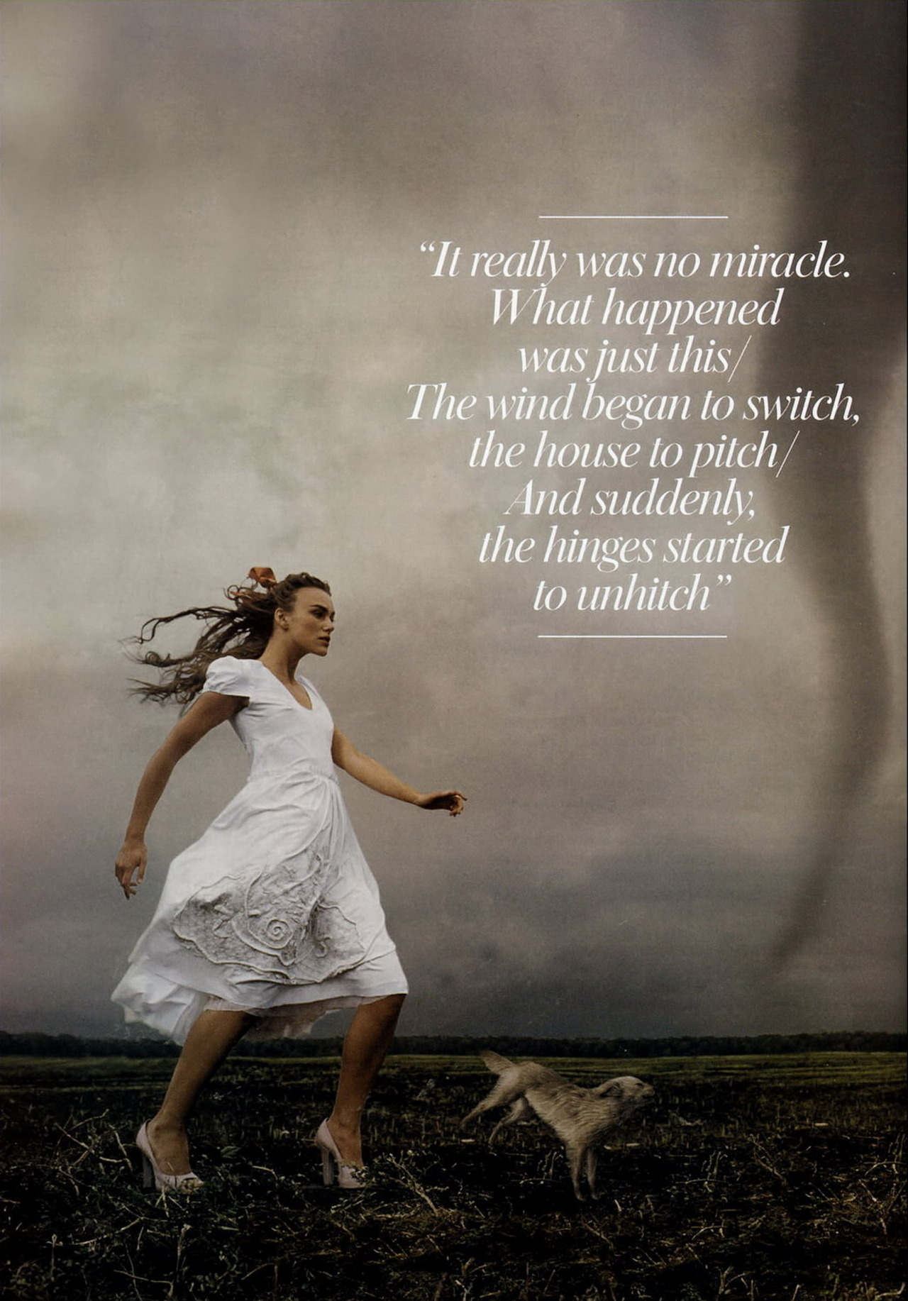 Keira Knightley - Vogue by Annie Leibovitz, December 2005 Just then the witch to satisfy an itch came riding on her broomstick thumbin' for a hitch!