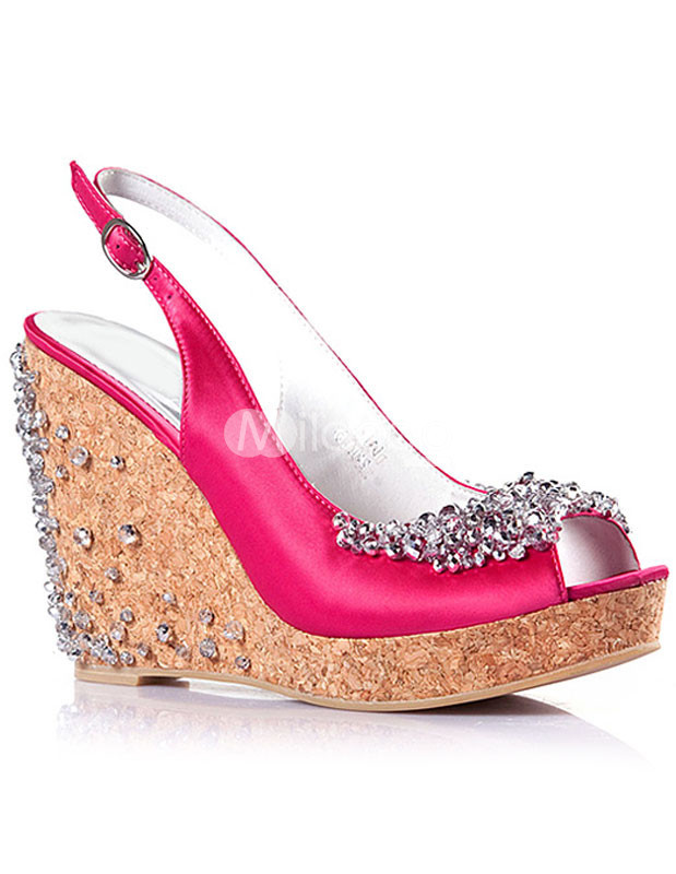 Sweet Rhinestone Crystal Buckle Satin Womens Wedge Shoes :  wedge red crystal shoes