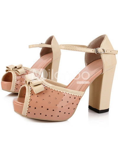 Sweet Bow Perforated Peep Toe PU Womens Chunky Heel Sandals