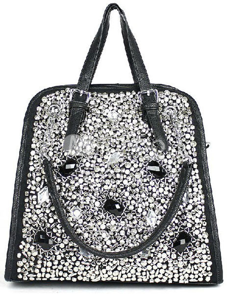 Luxurious Black Handmade Rhinestone PU Womens Shoulder Bag