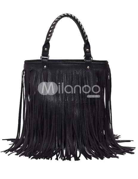 Fashion Black Fringe PU Womens Tote Bag :  fashion black pu tote bag