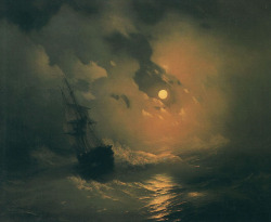 phobs-heh:  Ivan Aivazovski - storm on the sea at night.
