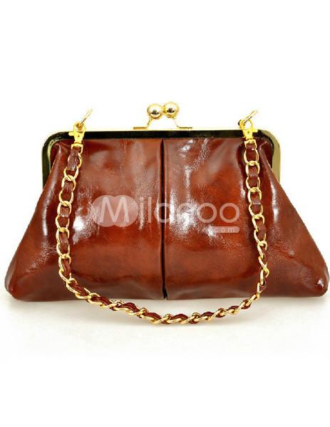 Classic Tan Chain Decoration PU Womens Clutch Bag