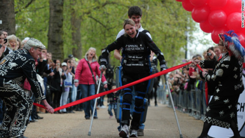 "Paralyzed woman finishes marathon 16 days after start  A 32-year-old paraplegic woman using a robotic walking suit has completed the London Marathon, 16 days after the event began. Hundreds of onlookers cheered a tearful Claire Lomas on Tuesday afternoon as she crossed the finish line on The Mall in central London, The Sun reported. Lomas, who was paralyzed from the chest down in a 2007 horse-riding accident, walked the 26.2-mile course using crutches and a £43,000 ($69,500) suit that uses motion sensors to help her move her legs. When Lomas shifts her balance, the ReWalk machine moves her joints forward, allowing her to take a step, the BBC reported. Lomas, of Eye Kettleby, England, averaged more than 1.5 miles per day since the marathon began on April 22, following the official route. She stayed at a hotel at night and was driven to the spot where she stopped the day before, according to the BBC. Her husband, Dan Spicer, accompanied her the whole way, and her parents and 1-year-old daughter also were with her for parts of the walk. ""The support has been breathtaking and it feels fantastic to finally finish,"" she said, according to The Sun. ""I really didn't expect this and I can't quite believe it's all for me. Everyone has been so supportive and I couldn't have done it without them.""  Read more."